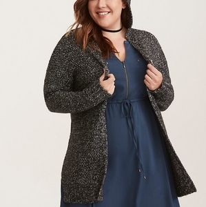 MARLED KNIT OPEN FRONT HOODED CARDIGAN Size 1